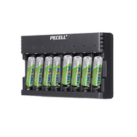 PKCELL 4Pcs AA 2200MAH and 4Pcs AAA 850MAH LSD With 8slot nimh or nicd aa or aaa charger charge 1 to 8pcs batteria USB interface
