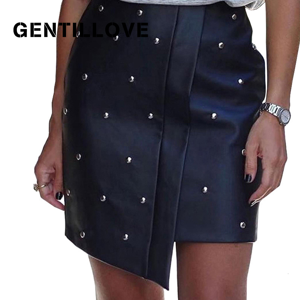 Gentillove Women Fashion Rivet Irregular Pu Leather Skirts Sexy Black Bodycon Faux Leather Skirt Pencil Short Skirt Office Lady