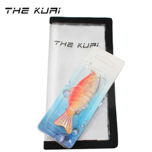 THEKUAI Fishing Lure With Hook Protective Cover Wrap Baits Tackle Lifelike 3D Eyes Multi Jointed Wraps Case