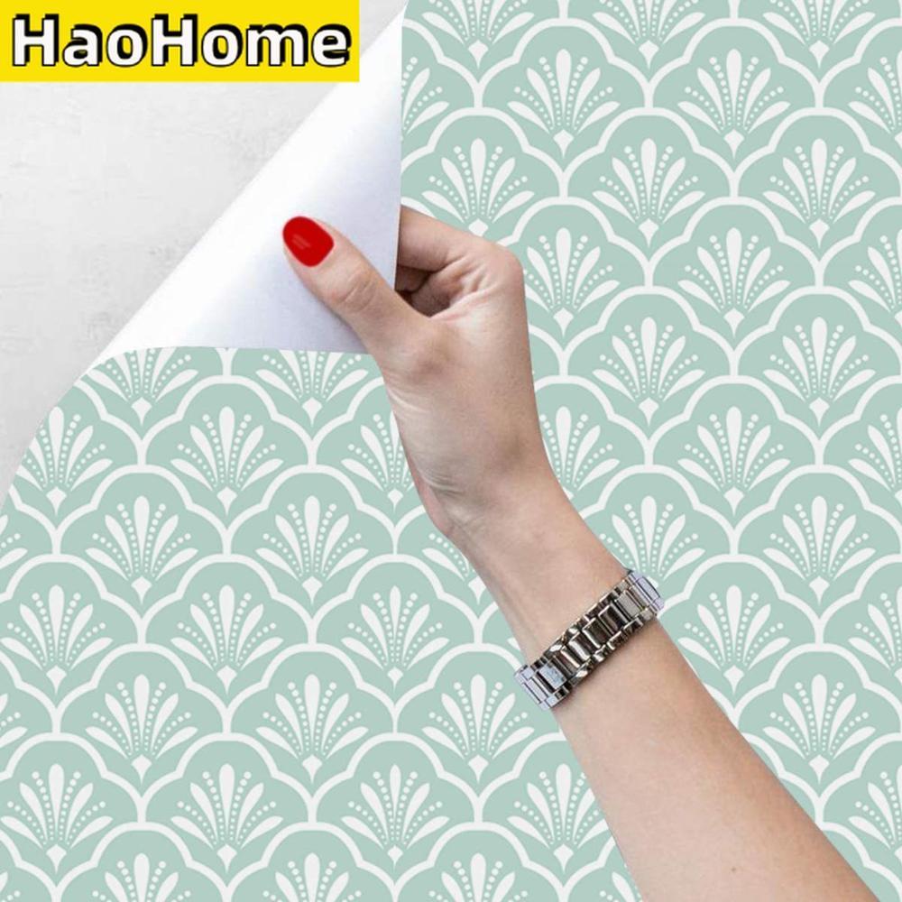 Papel tapiz con diseño de pelar y pegar para el hogar, tapiz autoadhesivo de color azul y blanco con diseño de ventilador de enrejado, Mural de pared con pegatinas para muebles