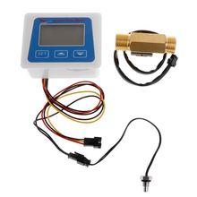 Digital Flow Meter Water Flowmeter Temperature Time Record with G1/2 Flow sensor R9JC