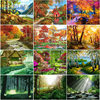 40x50cm frameless acrylic painting by numbers landscape on canvas diy Natural forest and trees pictures by number For Home Decor