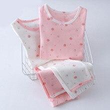 Детские повседневные пижамы, комплект одежды для девочек, милые комплекты одежды для сна Детские хлопковые Пижамные комплекты из 2 предметов: футболка с длинными рукавами+ штаны