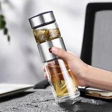 Oneisall – bouteille en verre à Double paroi, 400ml, avec passoire à thé, infuseur à thé, Thermos à démonter