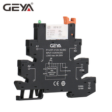 GEYA Slim Relay Module Protection Circuit 6A 12VDC/AC or 24VDC/AC OR 230VAC Socket 6.2mm thickness