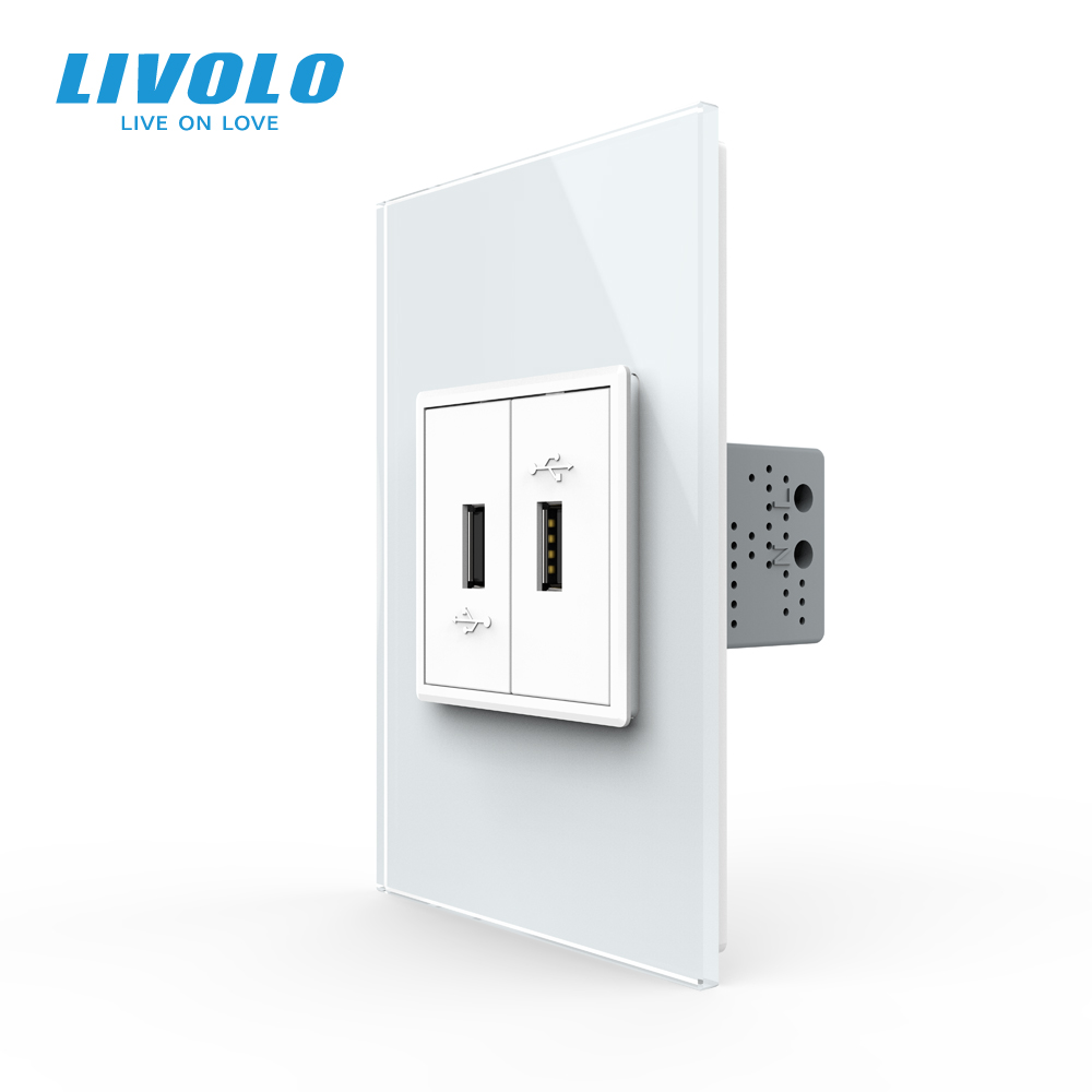 Livolo C9 US Standard 45mm Luxurious Telephone Com TV  SATV Aiduo Socket, White Pearl Crystal Glass Panel, Socket Plugs