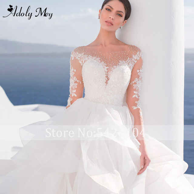 Adoly Mey Luxury Scoop Neck Beading Illusion Back A-Line Wedding Dress 2021 Ruched Tulle Long Sleeve Appliques Boho Wedding Gown 4