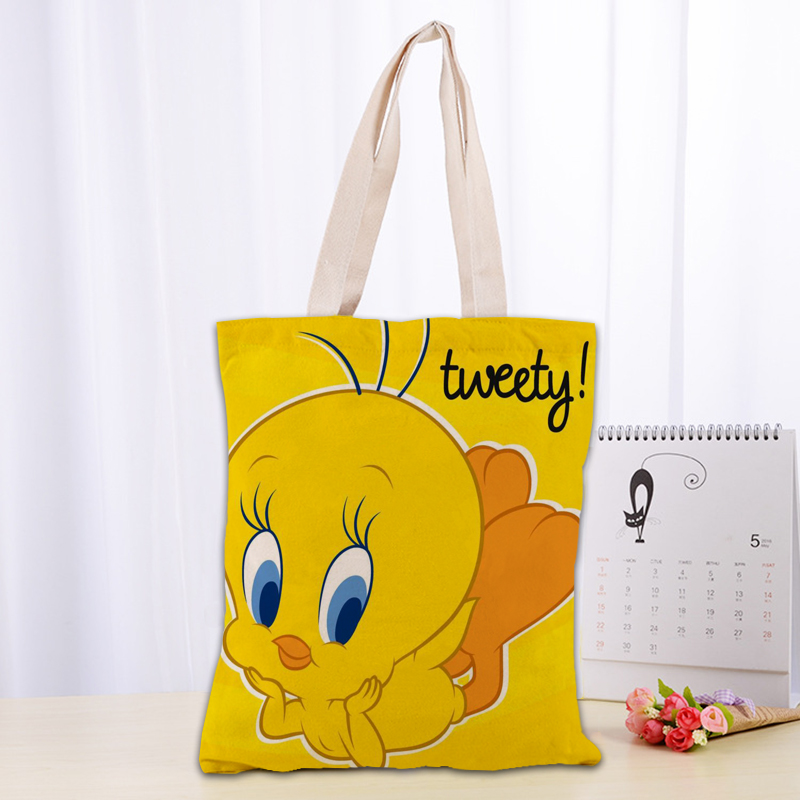 Hot Tweety Bird Printed Canvas Tote Bag 30X35cm Cotton Linen Handbag Convenient Shopping Women Handbag Custom Logo