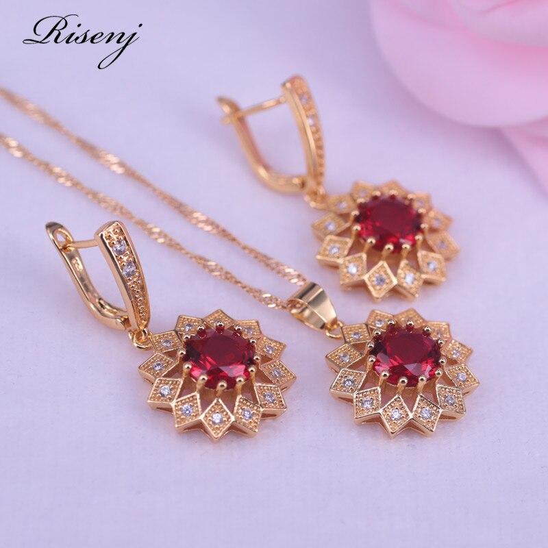 Фабричный выпуск, романтическая свадебная бижутерия ожерелье с цветами и серьги для невесты, 24 к, чистый золотой цвет, высокое качество
