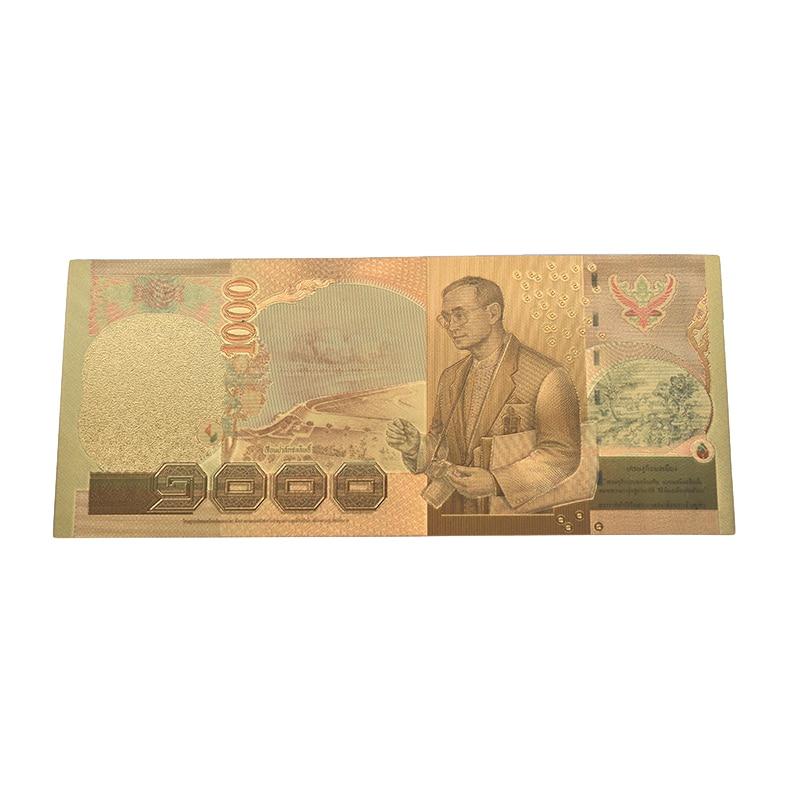 Banknot tajlandia banknot 1000 bahtów w 24k złoty papier pieniądze rama z tworzywa kolekcja