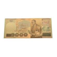 Billetes de Tailandia, 1000 Baht en 24k, papel dorado, dinero, marco de plástico, colección
