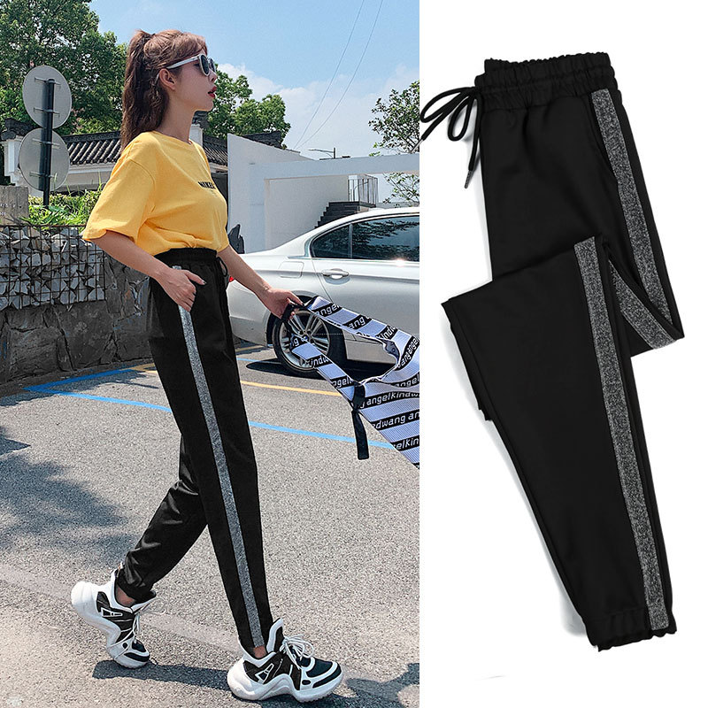 Athletic   Pants   WOMEN'S   Pants   Spring And Autumn 2019 New Style Loose-Fit Korean-style Students   Capri   Beam Leg INS Fashion Black A