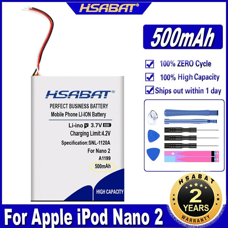 HSABAT 616-0283 616-0287 500mAh Battery for Apple iPod Nano 2nd Generation 2 Gen Nano 2 2G 4GB A1199 Nano2 Batteries(China)