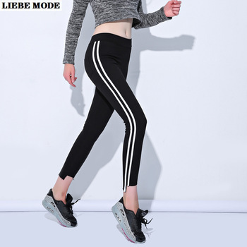 Women's High Waist Leggings Plus Size Irregular Bottom Elastic Waist Leggis Woman Side Stripe Ankle Pencil Pant black Autumn 6XL цена 2017