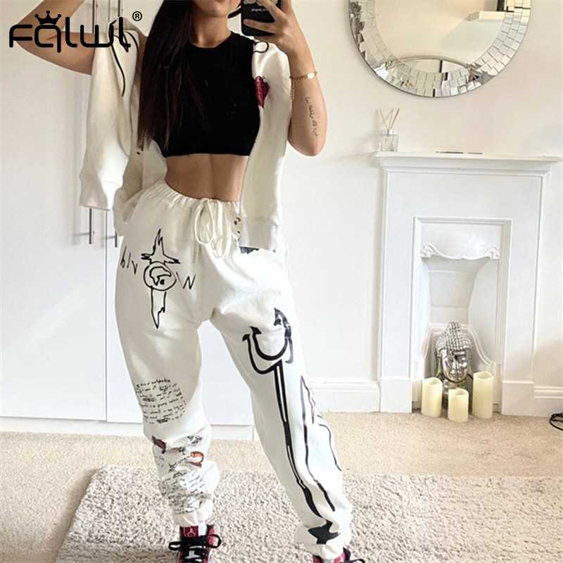 Fqlwl Graffiti Streetwear Twee 2 Delige Set Vrouwen Trainingspak Vrouwelijke Wit Zwart Truien Broek Vrouwen Bijpassende Sets Outfits Sweatsuit
