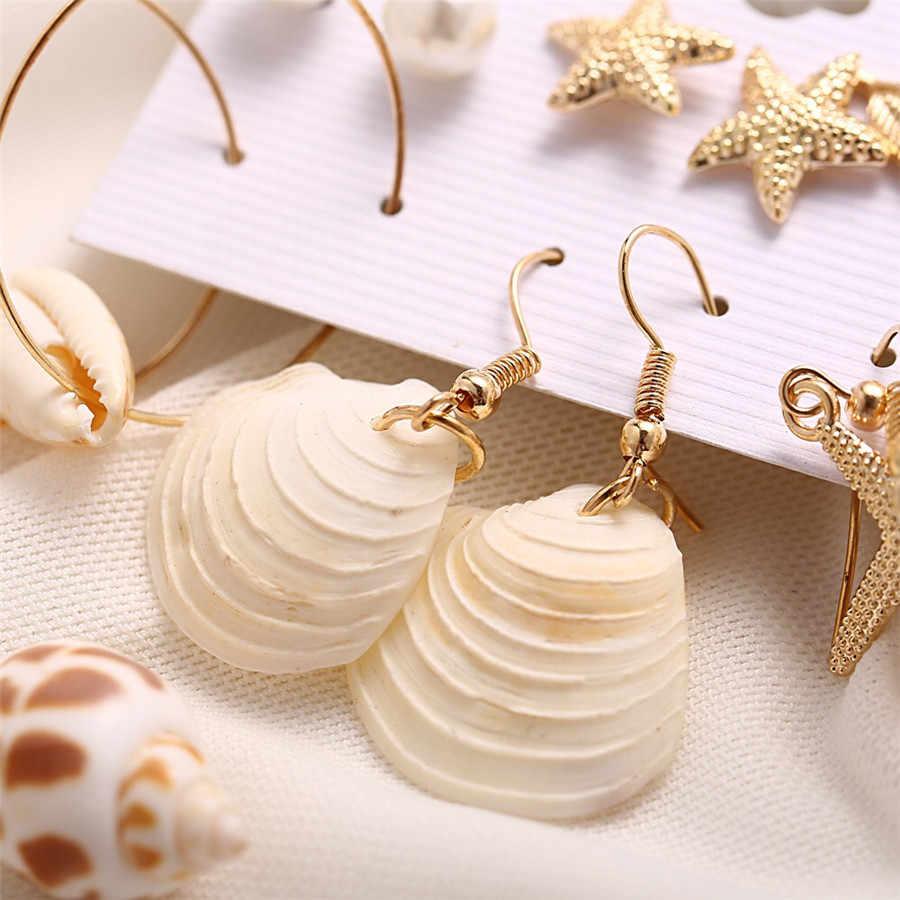 Boho Conch Starfish Drop Earrings Set For Women Vintage Beach Sea Shell Long Tassel EarringsGirl Indian Brincos Jewelry 2019