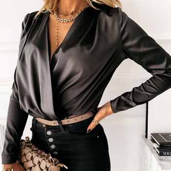 Women Elegant Satin Blouse Front Cross Wrinkle Sexy Deep V-neck Long Sleeve Casual Pullover Tops Autumn Fashion 2020 New Shirt sexy satin v neck cross front straps playsuits in pink