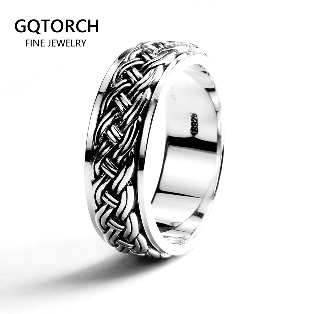 Rotatable Mens Rings Vintage Punk Hemp Rope Design Real 925 Sterling Silver Fine Jewelry