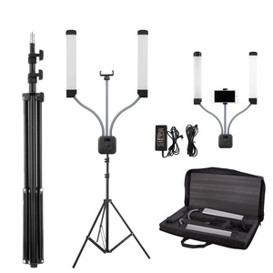 Image 1 - Photo Studio Double Arms Fill Selfie Ring light with 200cm Tripod Long LED Strips add Stand 3000K 600K LED For Camera