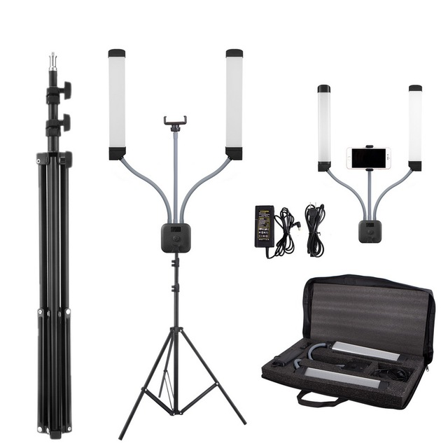 Photo Studio Double Arms Fill Selfie Ring light with 200cm Tripod Long LED Strips add Stand 3000K 600K LED For Camera