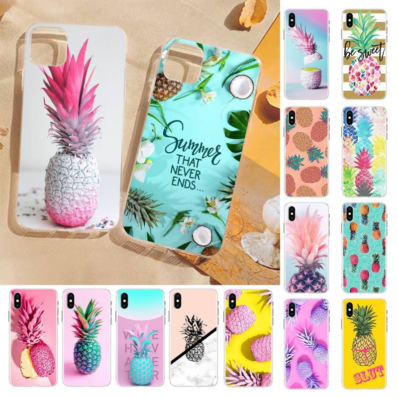 FHNBLJ Pineapple black Phone Case Hull for iPhone 8 7 6 6S Plus X 5S SE 2020 XR 11 12 pro XS MAX