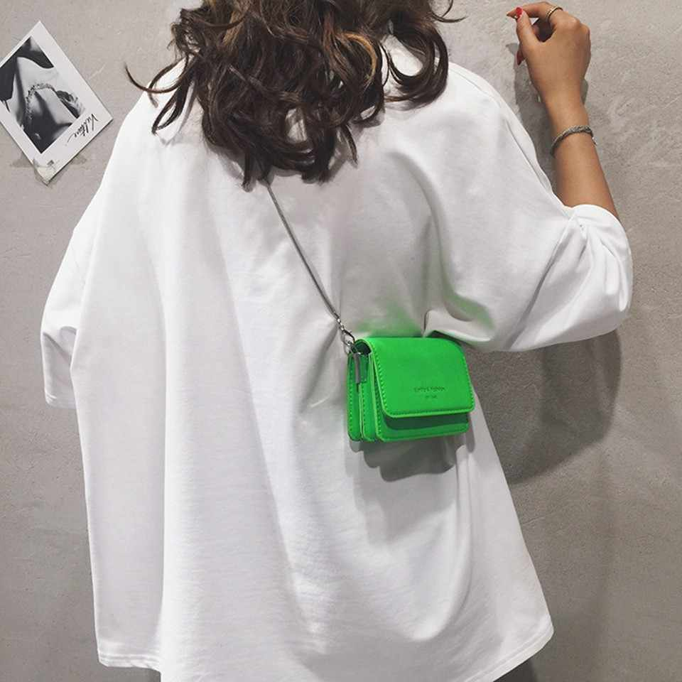 2019 Signore casual Mini Cross-body Bag Neon Verde Giallo Rosa Mini del Messaggero di Crossbody Bag Borsa Delle Signore borsa A Tracolla A Catena borsa
