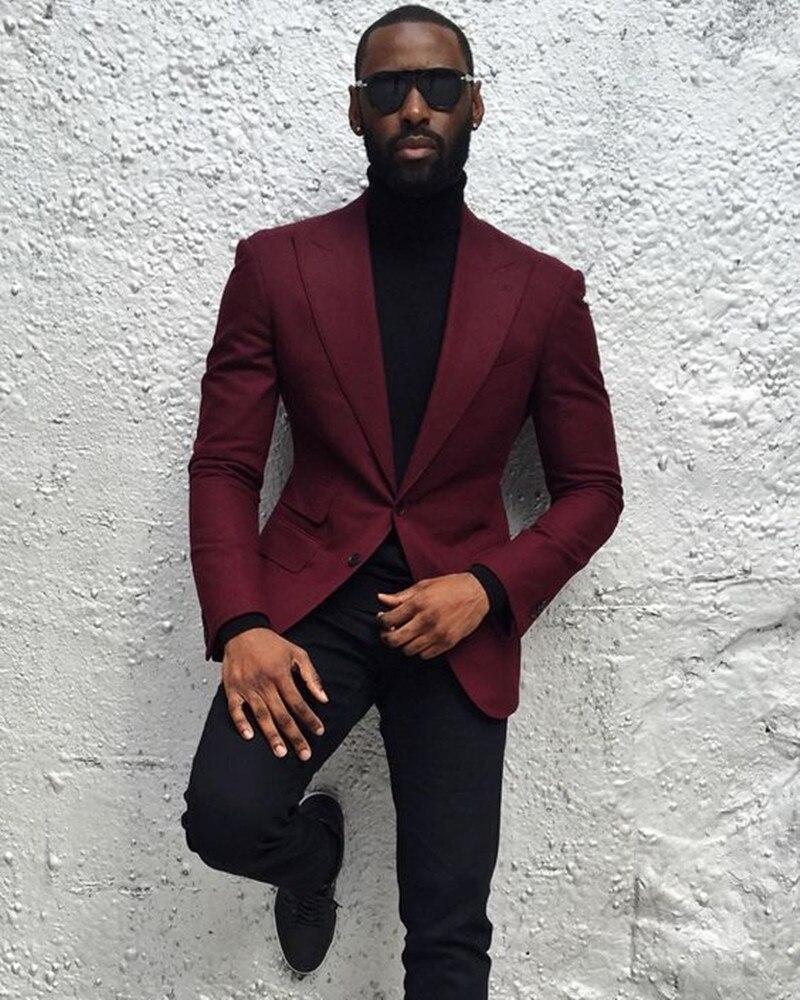 Personnaliser hommes costumes pour mariage 2 pièces Costume d'affaires Blazer pic revers Costume Homme costumes de fête (veste rouge vin + pantalon noir)