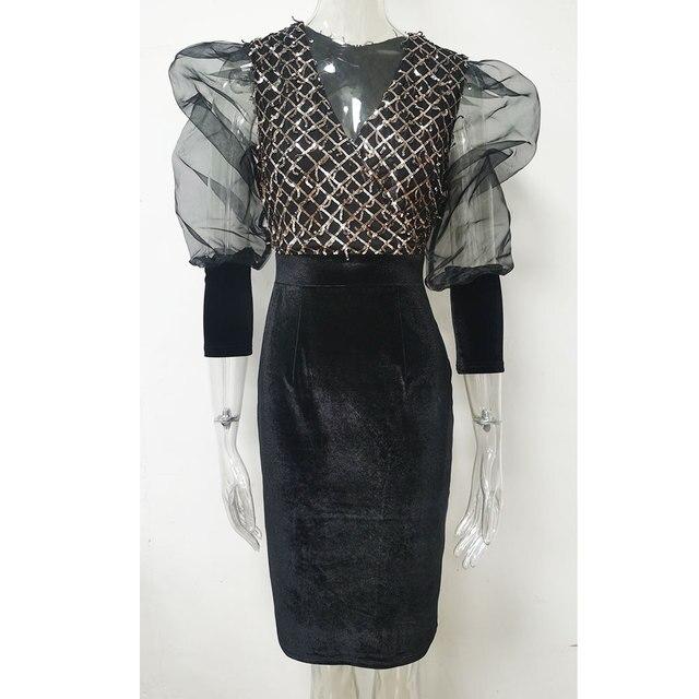 Spring and Autumn New Women's Casual dress Deep V-neck Mesh Stitching Long sleeve Slim Elegant Sequin dress 3170 6