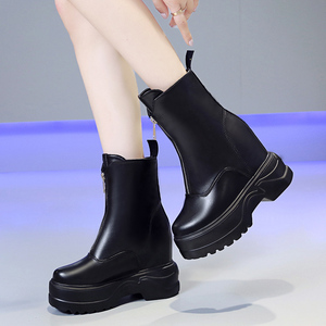 Image 5 - Rimocy Brights Orange Motorcycle Boots Women Autumn Winter Mid calf Riding Boots Woman Height Increase Front Zipper Ladies Shoes