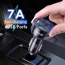 36W 4 יציאת USB מטען לרכב LED אור אוניברסלי נייד טלפון מהיר טעינת מתאם עבור iPhone 12 11 פרו מיני סמסונג S20 Huawei