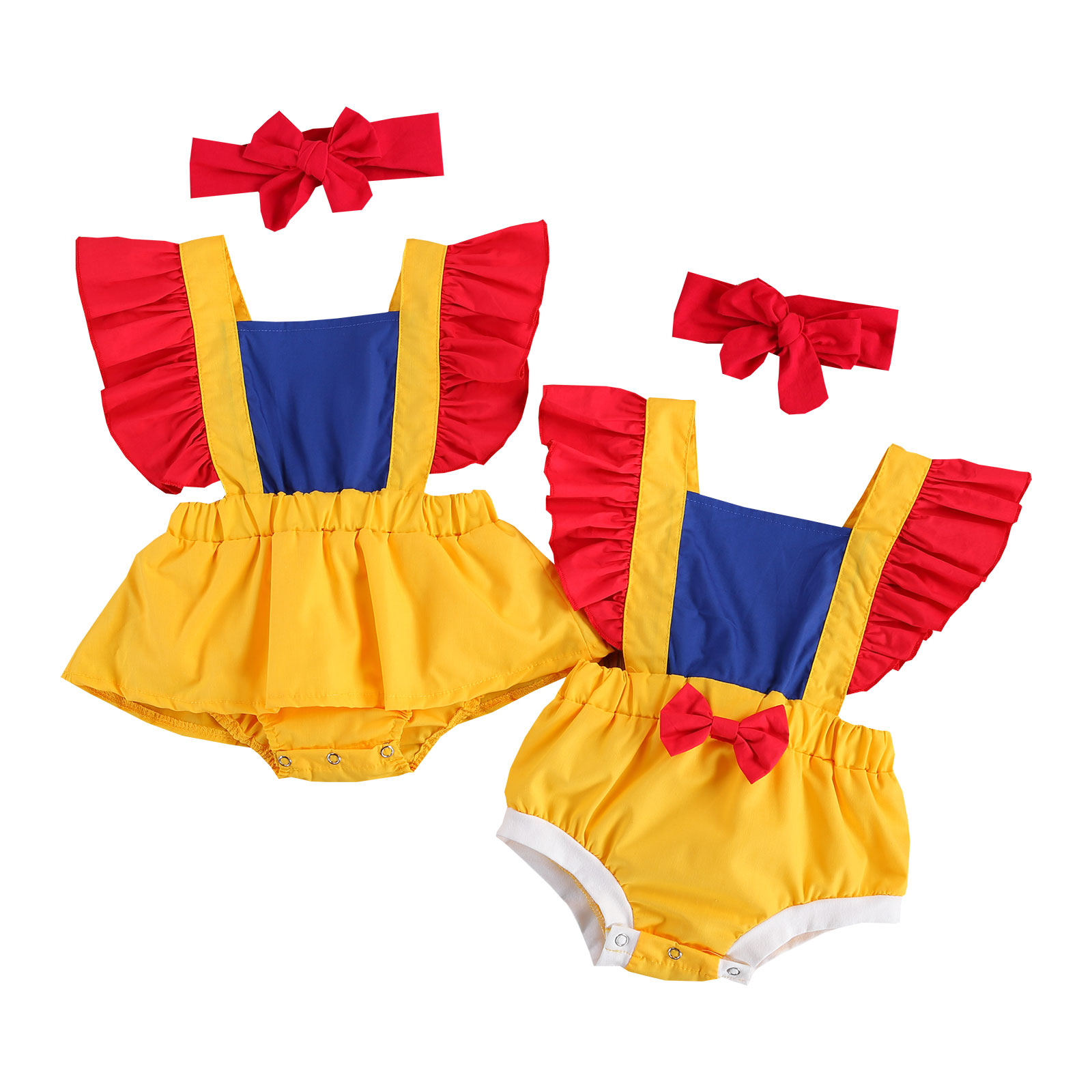 Costumes-Sets Skirts Patchwork-Outfits Ruffled-Sleeve Romper/romper Newborn Baby-Girls