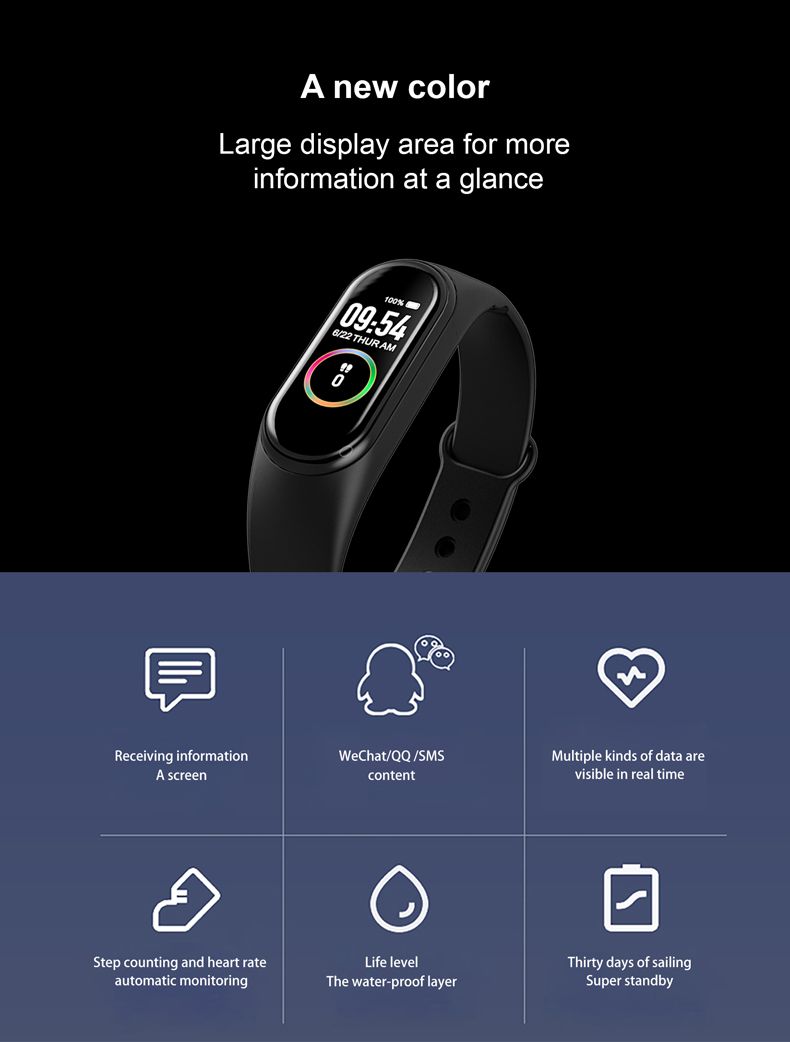 H621c8dca24704ed0aae6c68b1bf69a89W M4 Color Screen Smart Wristband Heart Rate Monitor Fitness Activity Tracker Smart Band Blood Pressure Music Remote Control