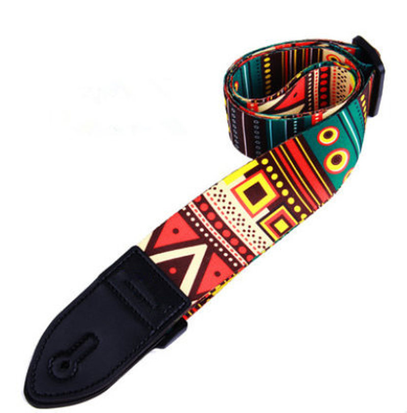 1Pcs Folk Printing Guitar Straps Thickened Folk Wooden Electric Guitar Bass Straps