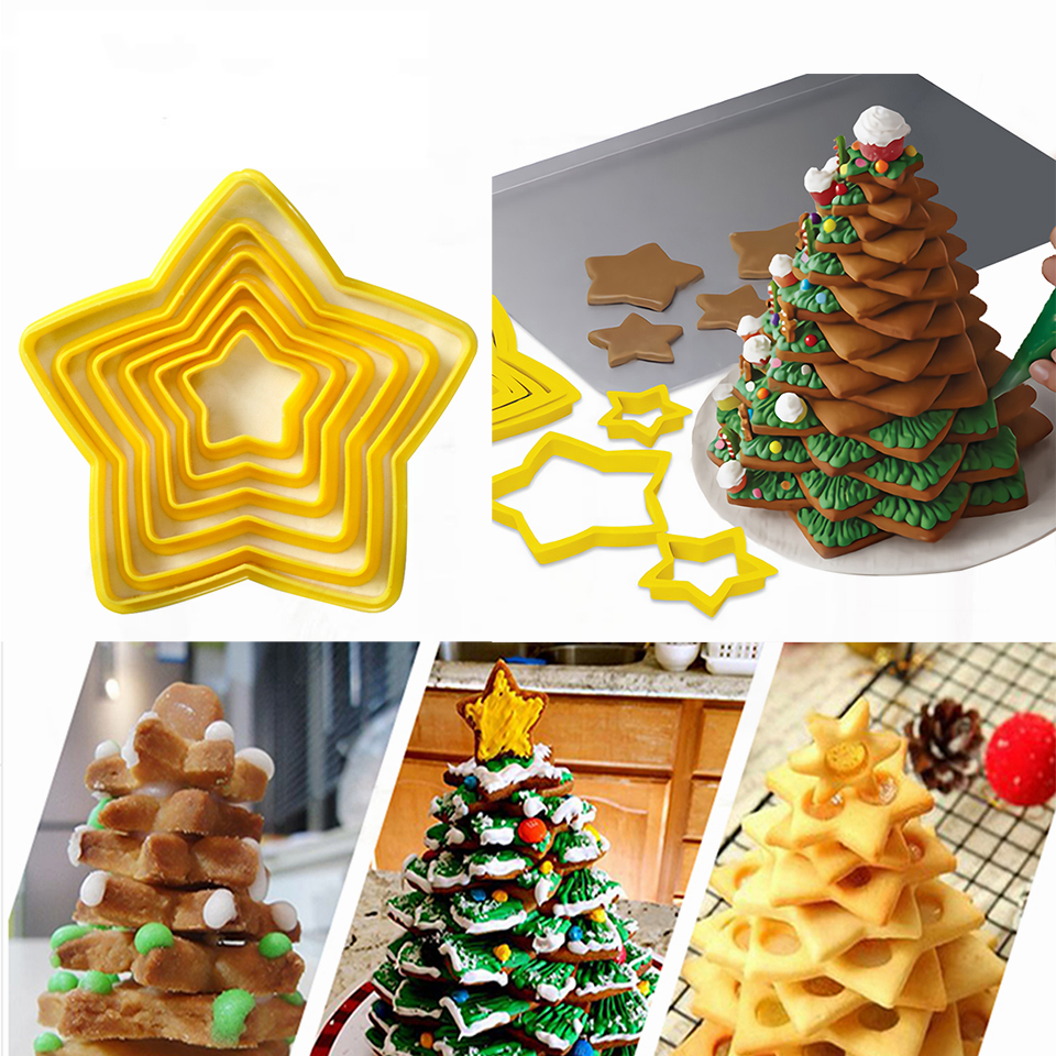 Transhome-Christmas-Cookie-Cutters-6Pcs-Set-3D-Plastic-Five-pointed-Star-Biscuit-Mold-DIY-Baking-Tools