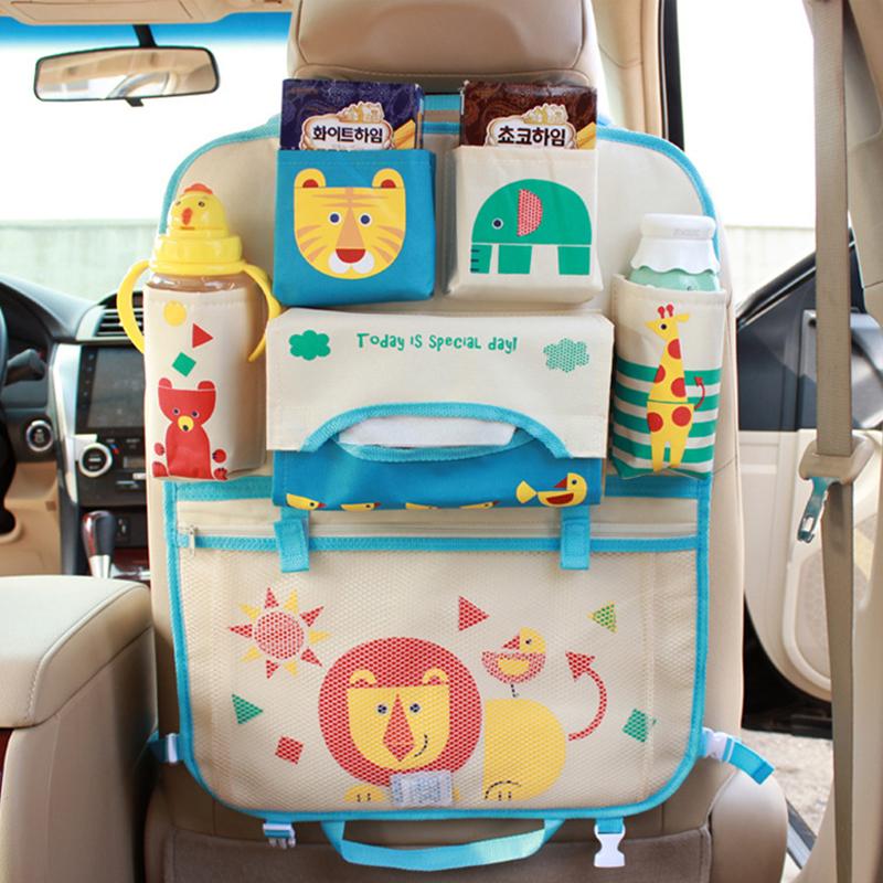 Cartoon Car Seat Back Hanging Bag Organizer Foldable Travel Accessories For Baby Child Multifunction Interior Pocket Storage Box