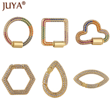 Luxury Rainbow Zirconia Clasps Various Shapes Lock Hook Screw Clasp Jewelry Accessories For DIY Necklace Supplies