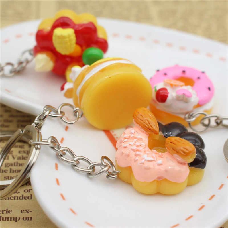 1 pcs סופגנייה עוגת Keychain עבור נשים בנות מתנות חמוד מקסים סימולציה מזון שרף רכב שקיות Keyring חם למכור