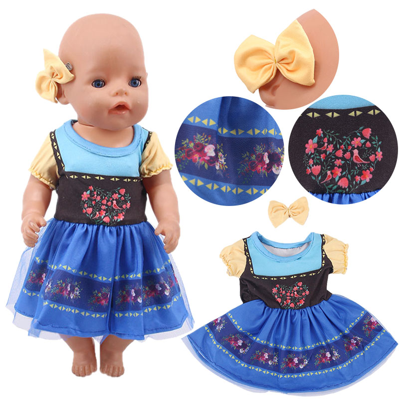 Elsa Anna Fancy Princess Dresses Doll Clothes Fit 18 Inch American&43 CM Born Baby Doll,Girl's Toys,Our Generation,Gift