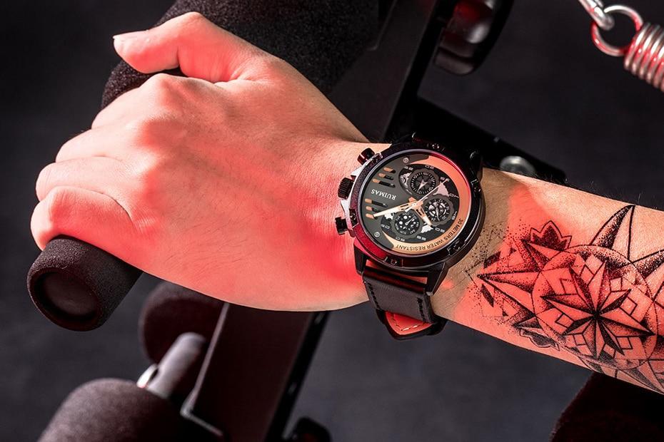 couro marca preto militar relógio pulso movimento
