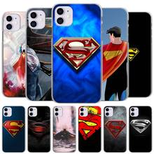 Phone Case Coque for Apple iPhone 11 Pro Max X XR XS MAX SE(2020) 7 8 6 6s Plus 11 Pro 5 5S Hard Cover Marvel superman Logo