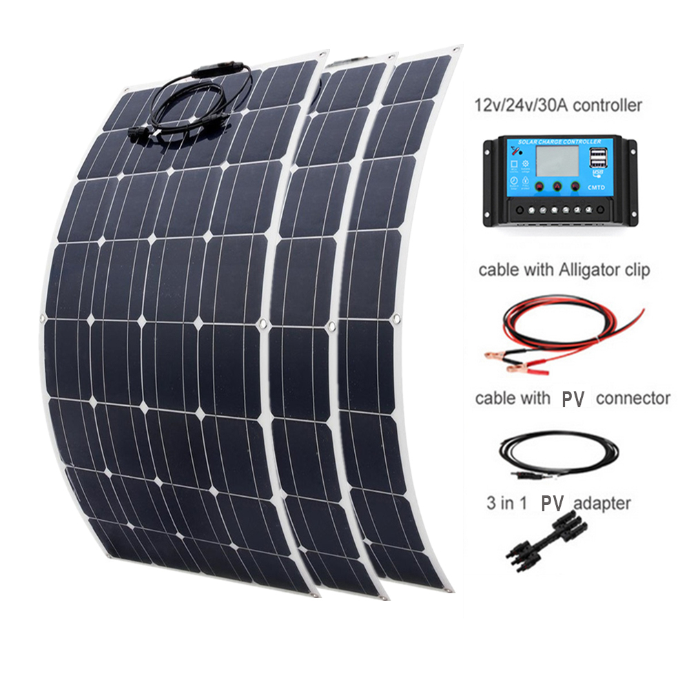 100w Flexible <font><b>Monocrystalline</b></font> <font><b>solar</b></font> <font><b>panel</b></font> <font><b>300w</b></font> DIY kit 30A Controller cable adapter for 12v 24V battery RV yacht power charge image