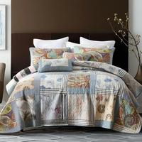 Vintage Bedspreads Cotton Quilt Set 3pcs Quilts Handmade Patchwork Bed Cover Shams King Queen Size Quilted Coverlet Blanket