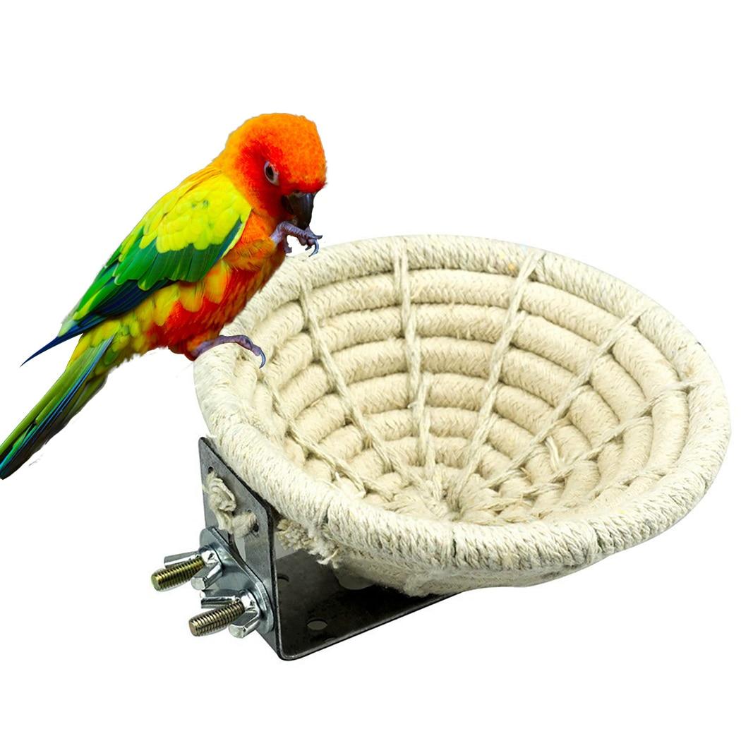 Manual Braided Hemp Rope Bird Nest Bed Multi-Purpose Artificial Finch Nest Bird House For Parrot Hamster Pet Bed Nest Supplies