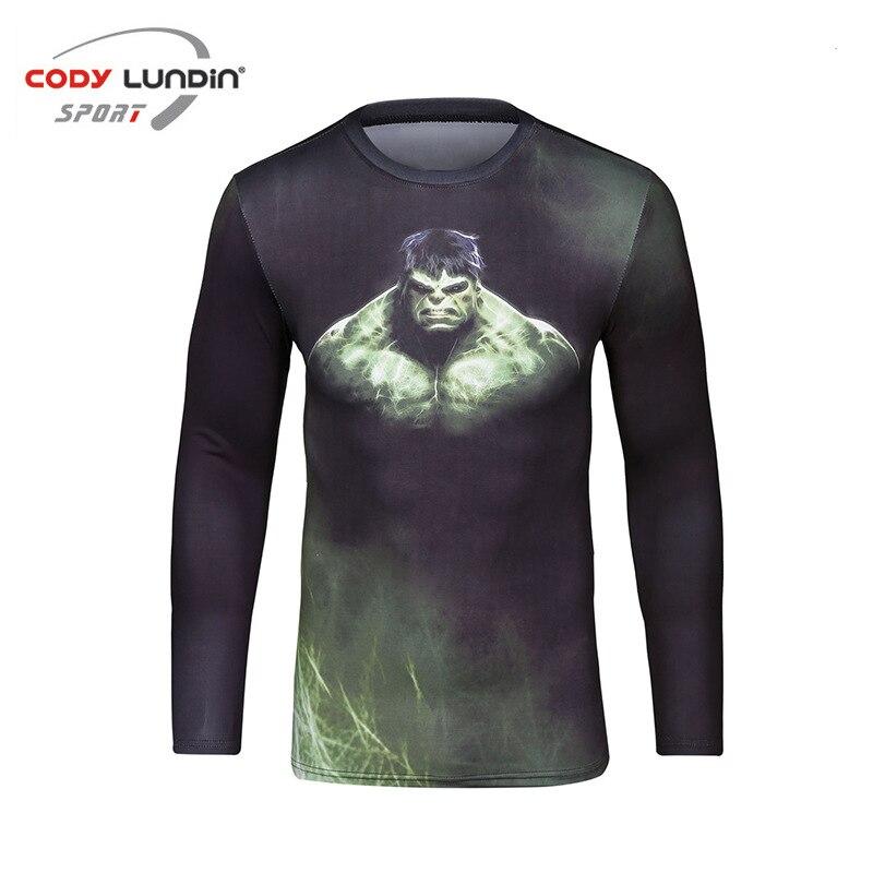 Captain America MMA Men Rashguard T-shirt Tights Long Sleeved Boxing Jerseys Rashguard Bjj GI Kickboxing Muay Thai Training Tee