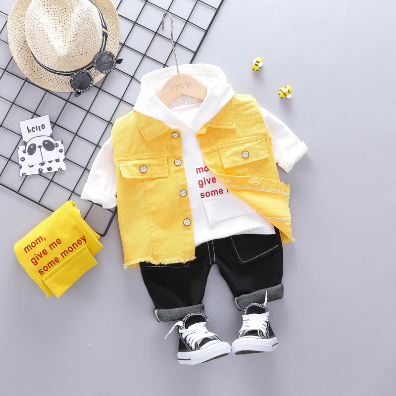 Baby three-piece suit boy spring and autumn fashion denim vest suit boy cotton casual letter printing male baby sweater suit