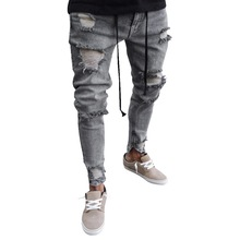 WENYUJH 2019 NEW Super Skinny Slim Fit Denim Plus Size 4XL Cotton Mens Ripped Jeans Vintage Hole Pants Destroyed Frayed Trousers