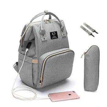 Bebek bezi sırt çantası büyük kapasiteli bez torba su geçirmez annelik seyahat hemşirelik çanta bebek bakım arabası çanta USB tasarım