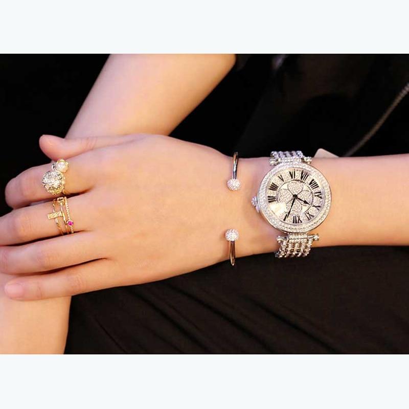 Ultimate DealÓWatch Women Bracelet Silver Clover Luxury Quartz Crystal Feminino Waterproof Relogio