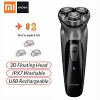 XIAOMI Original visage rasoir Enchen BlackStone 3D rasoir électrique, hommes lavable type-c USB Rechargeable rasage barbe Machine