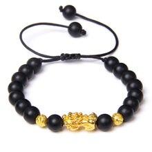 Pixiu – Bracelets en Onyx noir pour hommes et femmes, perles en obsidienne, tissage de Pierre Naturelle, Fengshui, perles dorées